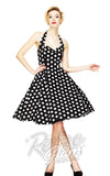 Hell Bunny Mariam 50s Polka Dot Dress in Black Front