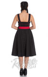 Hell Bunny 50s inspired Martie Dress in Black with red sash back