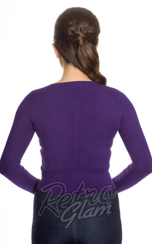 Hell Bunny Paloma Cardigan in Purple Back