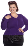 Hell Bunny Curvy Paloma Cardigan in Purple Curvy