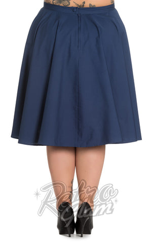 Hell Bunny Paula 50s Skirt in Navy