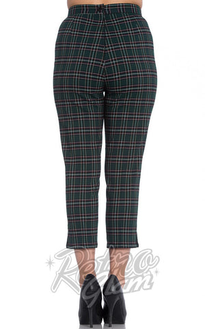 Hell Bunny green and red plaid Peebles Cigarette Pants back