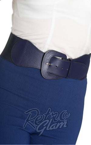 Hell Bunny 50s Faux Leather Rodeo Style Rizzo Belt in Navy