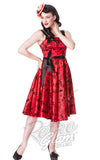 Hell Bunny Tattoo Flocked Dress in Red with black tattoo inspired print