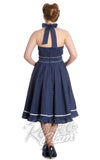 Hell Bunny Vanity halter Dress in Navy and White back