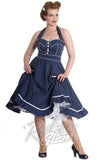 Hell Bunny Vanity halter Dress in Navy and White with crinoline