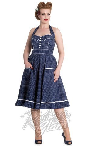 Hell Bunny Vanity halter Dress in Navy and White