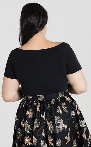 Hell Bunny Alex Top in Black curvy back