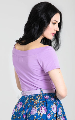 Hell Bunny Alex Top in Lavender back