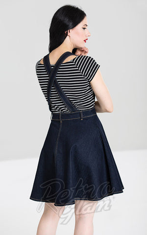 Hell Bunny Dakota Pinafore Dress in Blue Denim back