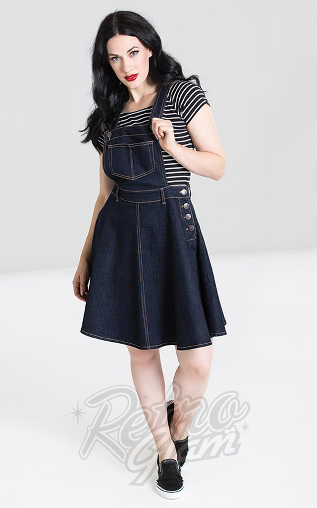 Hell Bunny Dakota Pinafore Dress in Blue Denim