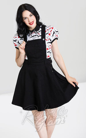Hell Bunny Dakota Pinafore Dress in Black Denim