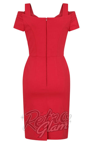 Hell Bunny Helena Pencil Dress in Red back
