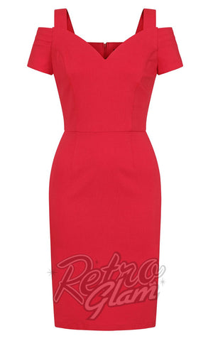 Hell Bunny Helena Pencil Dress in Red