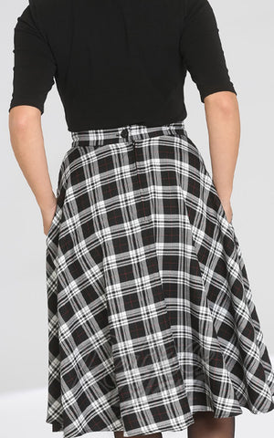 Hell Bunny Manchester 50s Skirt in B&W Plaid back