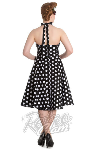 Hell Bunny Mariam 50s Polka Dot Dress in Black back