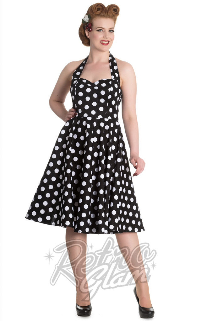 Hell Bunny Mariam 50s Polka Dot Dress in Black