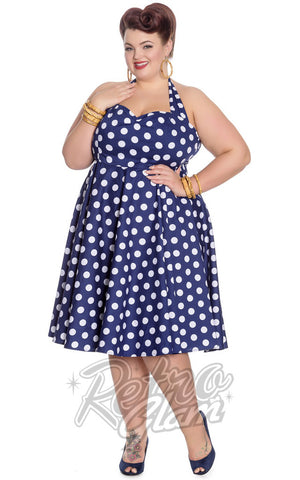 Hell Bunny Mariam 50s Polka Dot Halter Dress in Navy