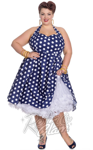 Hell Bunny Mariam Plus Size Polka Dot Halter Dress in Navy