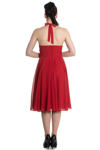 Hell Bunny Monroe Dress in Red Back