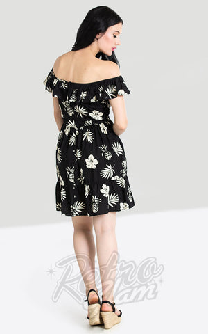 Hell Bunny Pineapple Mini Dress in Black back