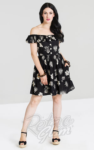 Hell Bunny Pineapple Mini Dress in Black