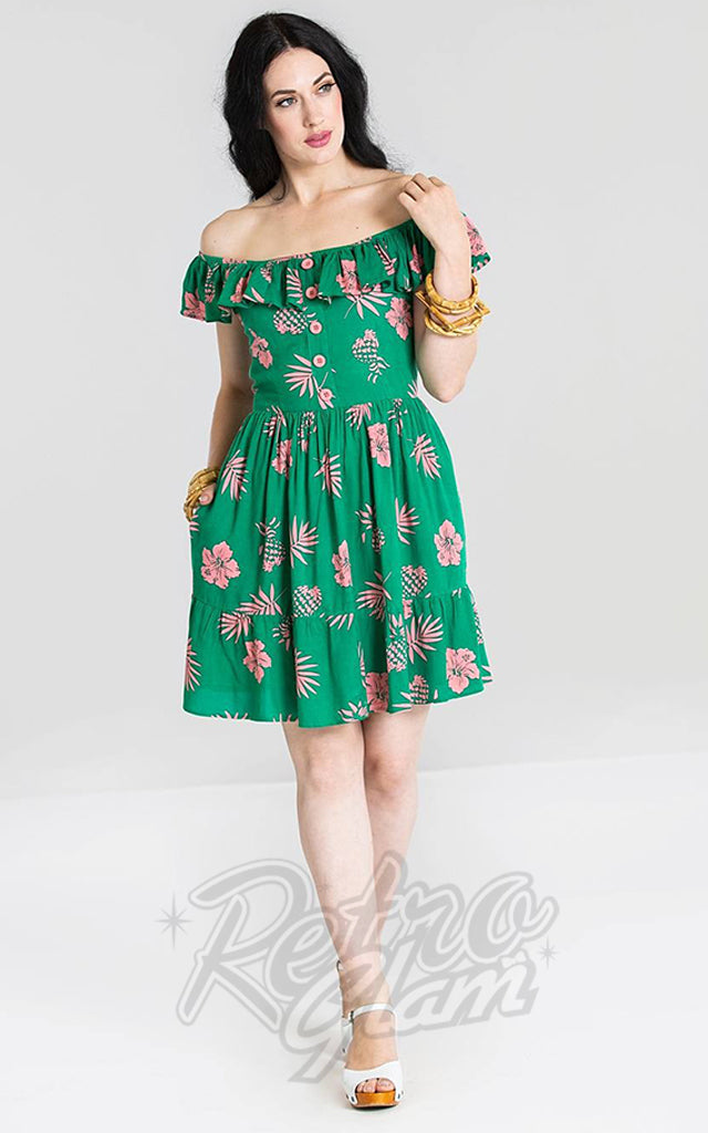 Hell Bunny Pineapple Mini Dress in Green