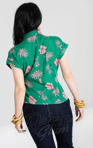 Hell Bunny Pineapple Shirt in Green back