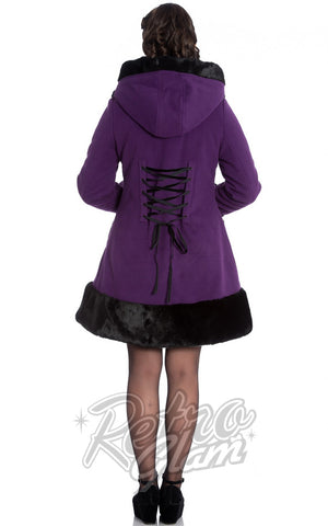 Hell Bunny Sarah Jane Coat in Purple back