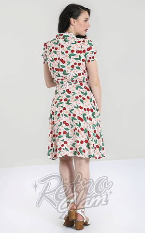 Hell Bunny Simona Mid Dress in White Cherry Print back