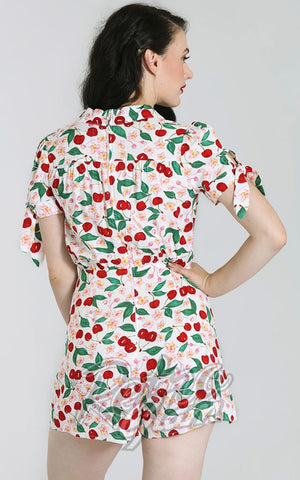 Hell Bunny Simona Playsuit in White Cherry Print back