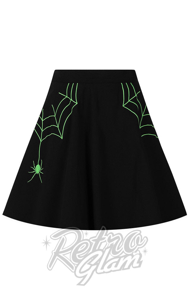 Hell Bunny Miss Muffet Mini Skirt with Green Embroidery