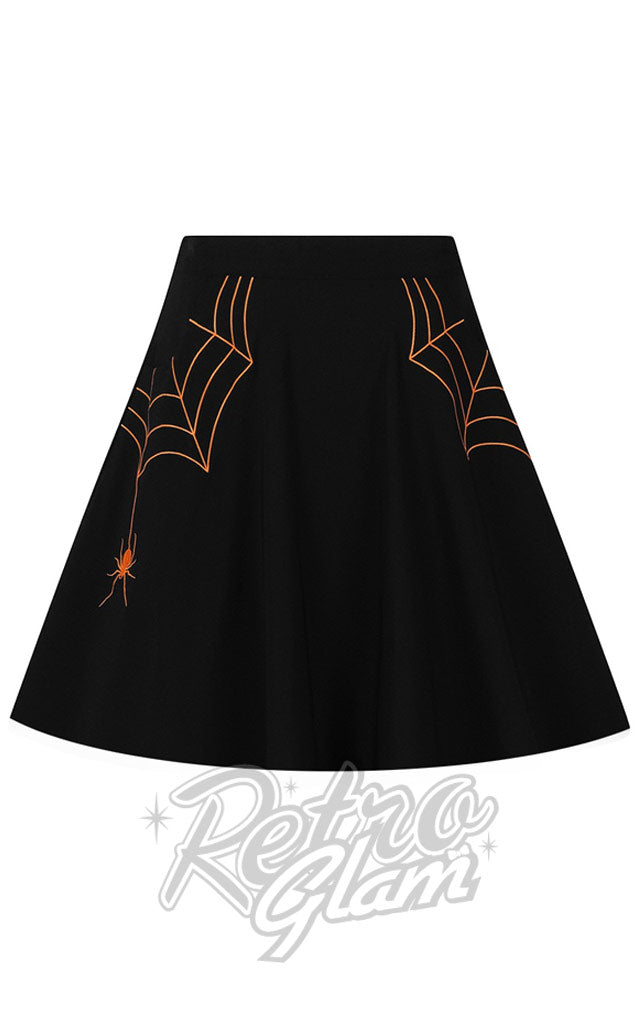 Hell Bunny Miss Muffet Mini Skirt with Orange Embroidery