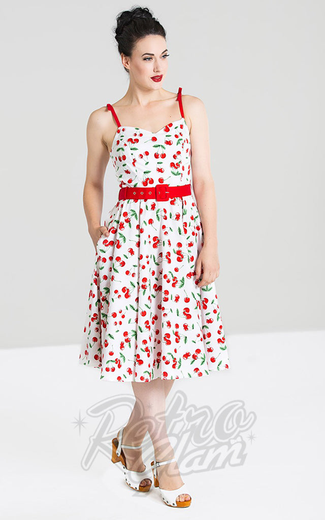 Hell Bunny Sweetie Dress in White Cherry Print
