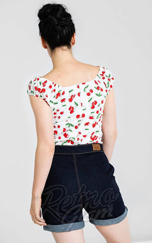 Hell Bunny Sweetie Top in White Cherries Print back