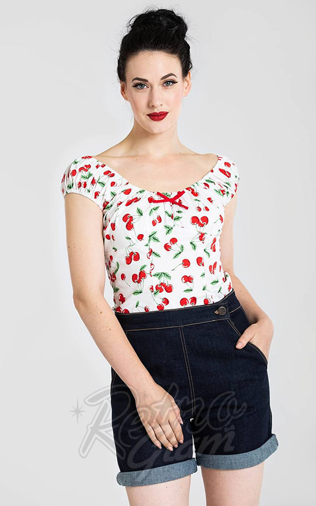 Hell Bunny Sweetie Top in White Cherries Print