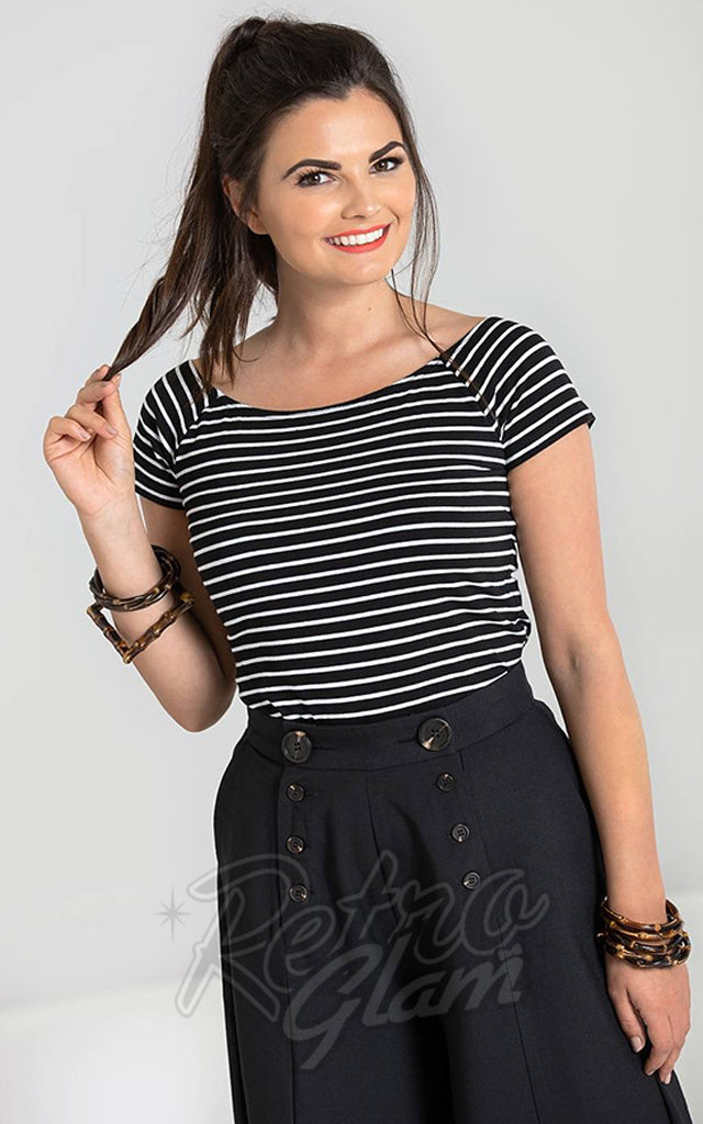 Hell Bunny Verity Top in Black & White Stripes
