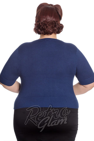 Hell Bunny Curvy Gal Wendi Cardigan in Navy Back