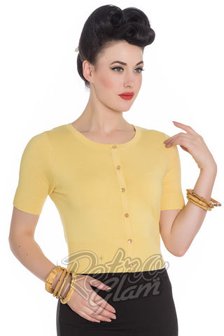 Hell Bunny Pinup Wendi Cardigan in Yellow