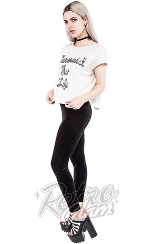 Iron Fist Mermaid For Life Oversized White Crop Tee with Sequin Embroidered Lettering side