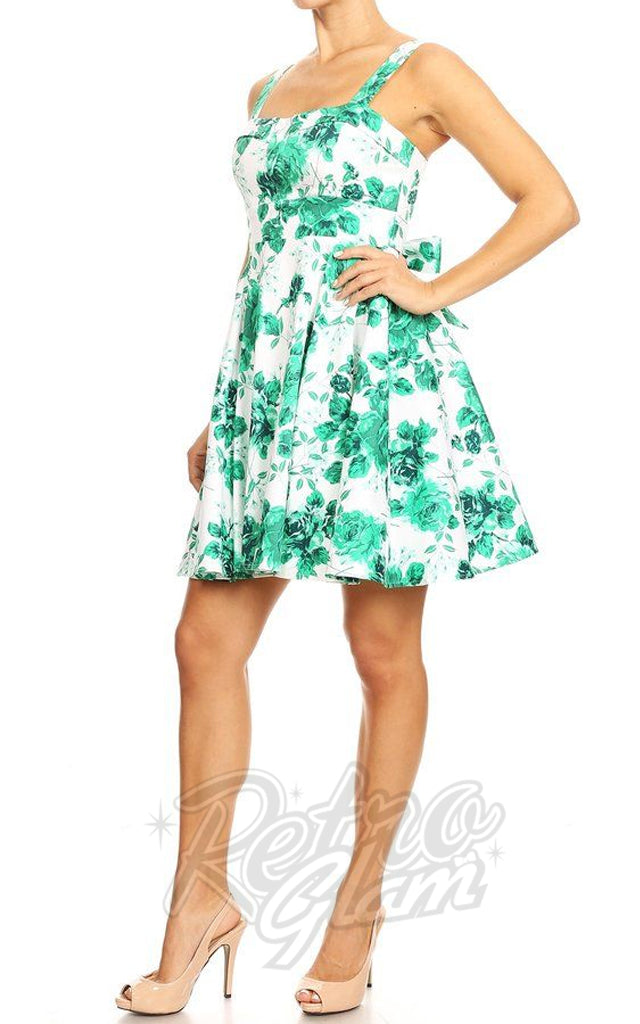 f78ebbea09a Ixia Pin Up Cruiser Dress in Green Floral on White – Retro Glam
