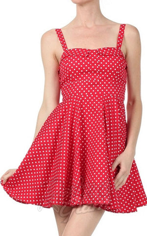 Ixia Pin-up Cruiser Dress in Red PinDot