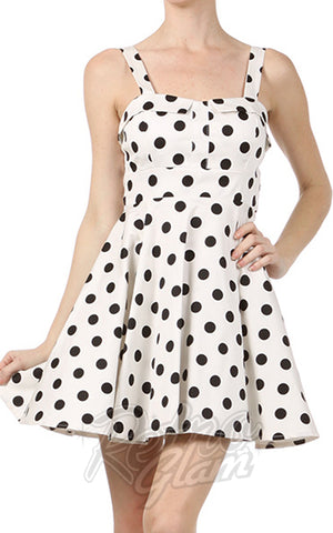 Ixia Pin-up Cruiser Dress in White with Black Polka Dots