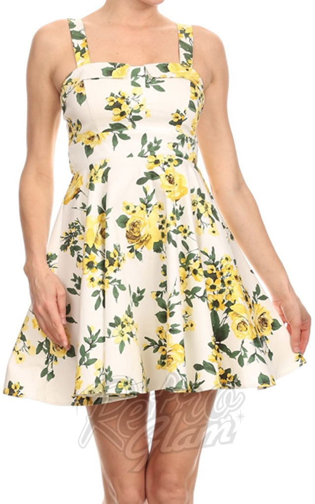Ixia Pin-up Cruiser Dress in White with Yellow Floral