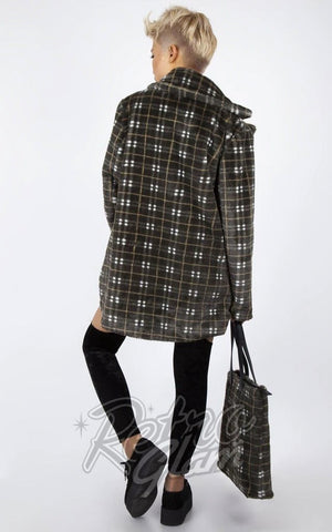Jawbreaker Grunge Plaid Faux Fur Jacket back