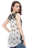 Jawbreaker sleeveless Monotone Skull Top with cutout detail back on model