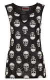 Jawbreaker sleeveless Monotone Skull Top with cutout detail front