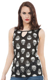 Jawbreaker sleeveless Monotone Skull Top with cutout detail front on model