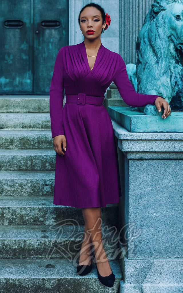 Katakomb Claudia Long Sleeve Dress in Purple