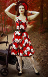 Katakomb Rizzo Swing Dress in Skulls & Roses Print novelty